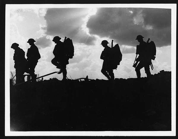 (311) C.2494 - Troops moving up at eventide - men of a Yorkshire regiment on the march