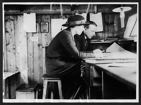 (279) C.1970 - Lady forewoman in her office at the workshops of the lady carpenters in France