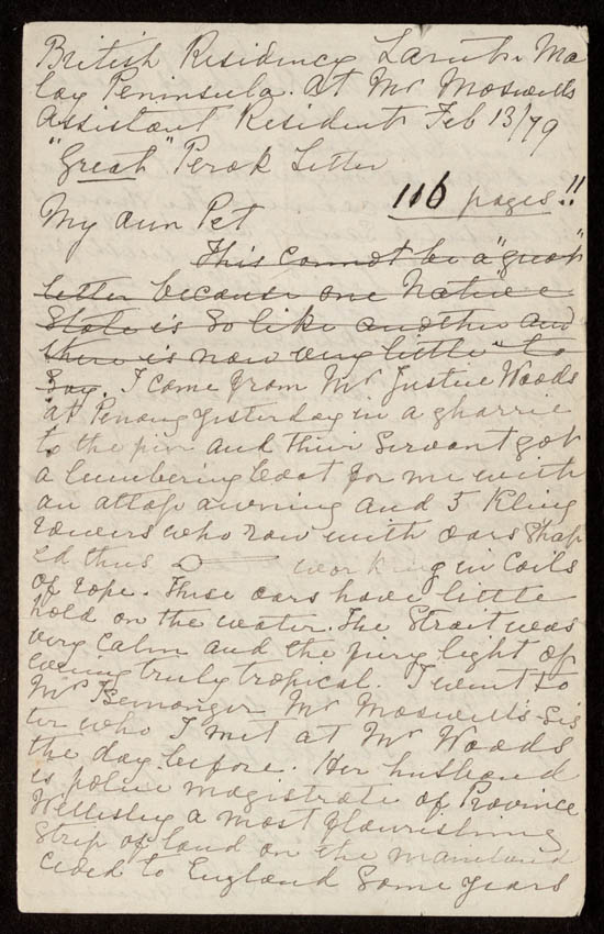 Letter of Isabella Bird Bishop to Henrietta Bird, 13 February 1879 - MS.42027