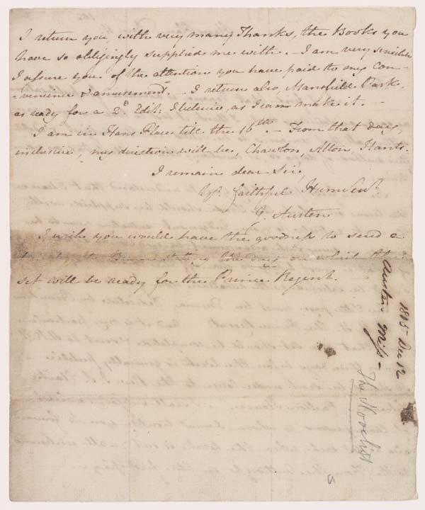 Letter of Jane Austen to John Murray, 11 December 1815 - MS.42001 f.3