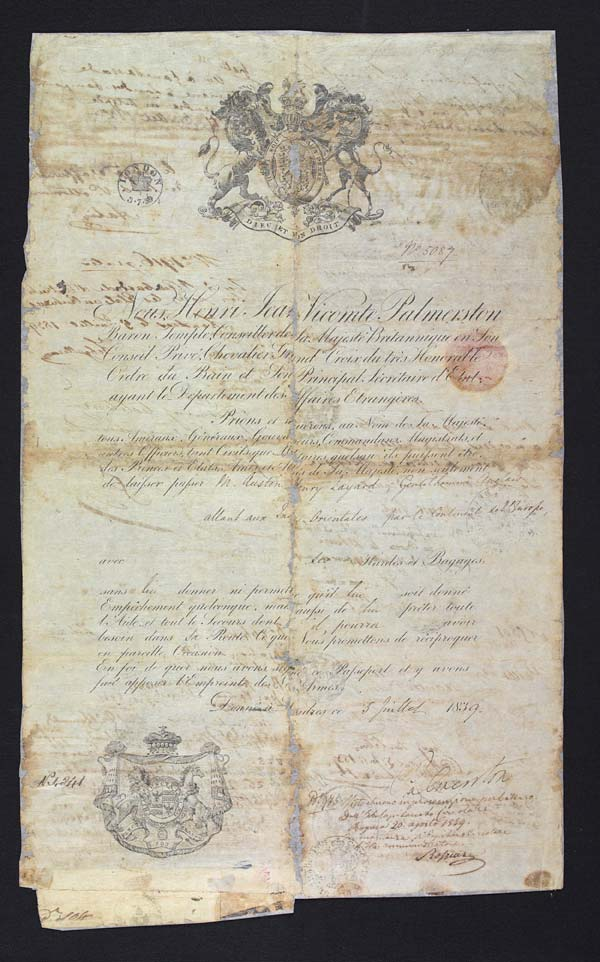 Passport of Sir Austen Henry Layard, 1839-1842 - MS.42345