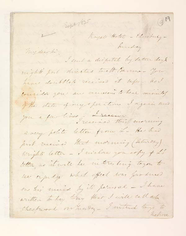 Letter of Benjamin Disraeli to John Murray, 18 September 1825 - MS.42625 ff.19-20