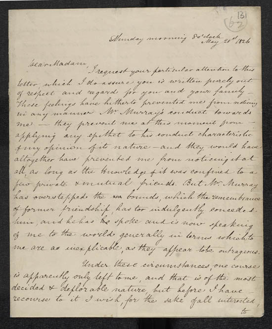 Letter of Benjamin Disraeli to Mrs Murray, 21 May 1826 - MS.42625 ff.131-132