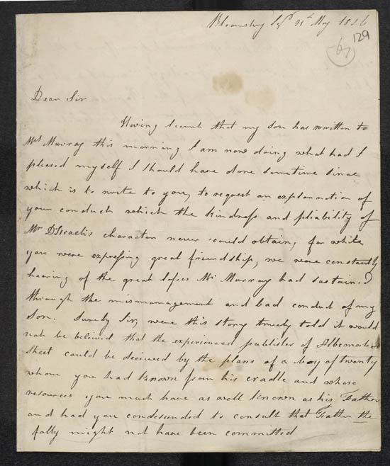 Letter of Mrs Disraeli to John Murray, 21 May 1826 - MS.42625 ff.129-130