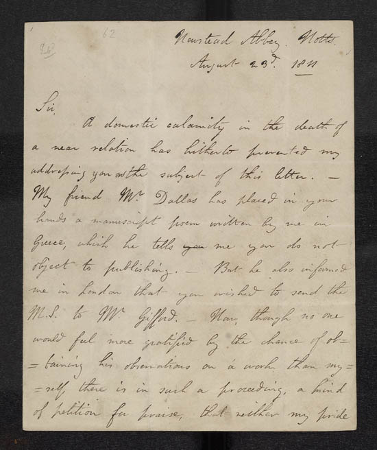 Letter of Lord Byron to John Murray, 23 August 1811 - Ms.43598