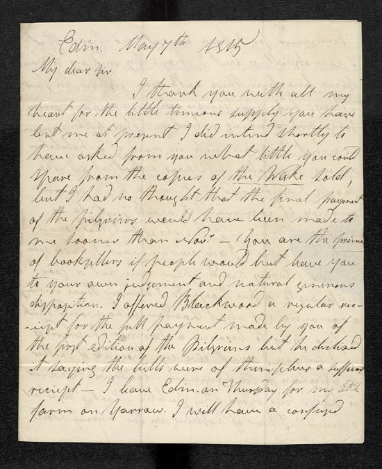 Letter of James Hogg to John Murray, 7 May 1815 - MS.42305 f.13-14