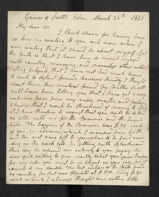 Letter of James Hogg to John Murray, 24 March 1821 - MS.42305 ff.30-31
