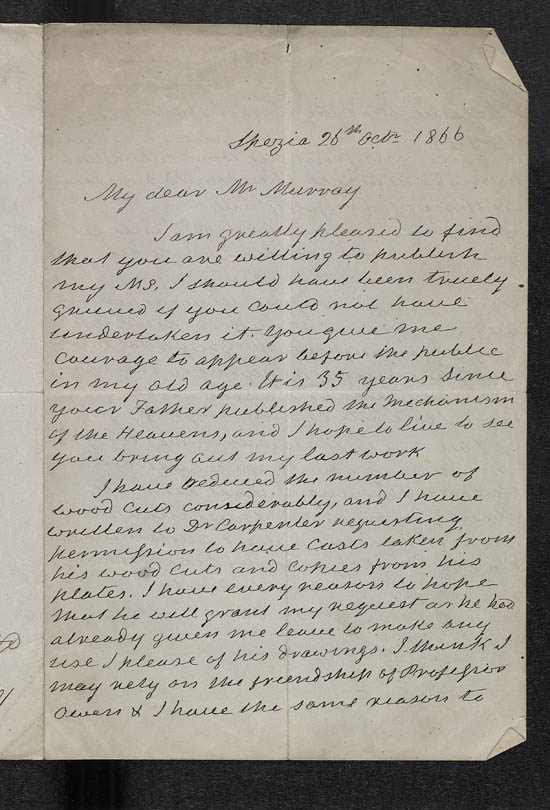 Letter of Mary Somerville to John Murray, 26 October 1866 - Ms.41131 ff.150-151