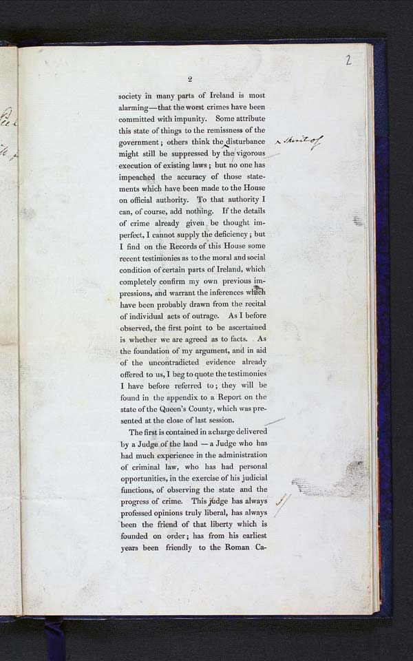 Annotated proof of Sir Robert Peel's speech on 'Suppressing Disturbance in Ireland', 1833 - MS.42518