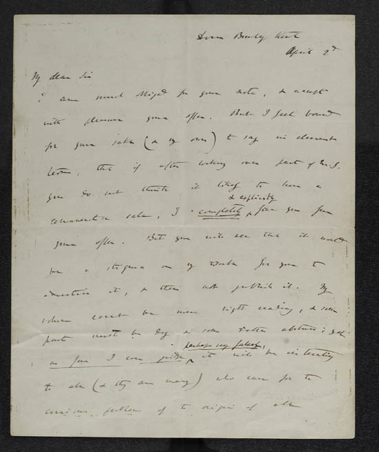 Letter of Charles Darwin to John Murray, 2 April 1859 - MS.42154 ff.18-19