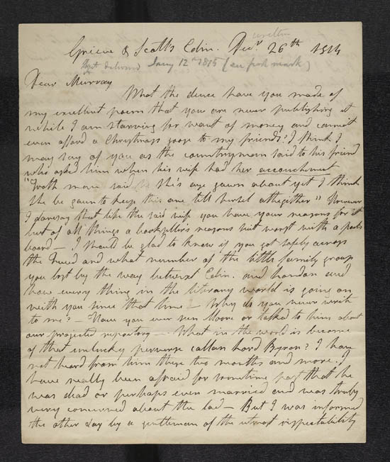 Letter of James Hogg to John Murray, 26 December 1814 - MS.42305 f.1