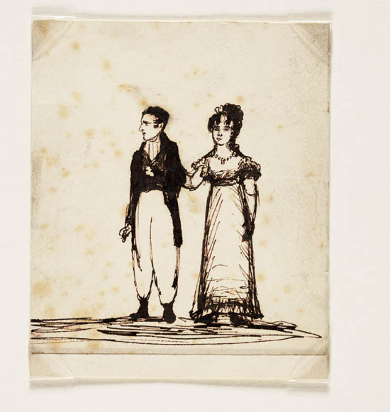 Sketch by Lady Caroline Lamb of Lord and Lady Byron c. 1815 - Ms.42438