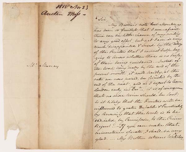 Letter of Jane Austen to John Murray, 23 November 1815 - MS.42001 ff.1-2