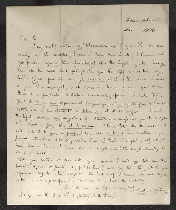 Letter of Caroline Norton to John Murray, December 1836 - MS.42507
