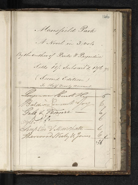 Sales subscription list for Jane Austen's 'Mansfield Park', 1816 - MS. 42809 f. 146