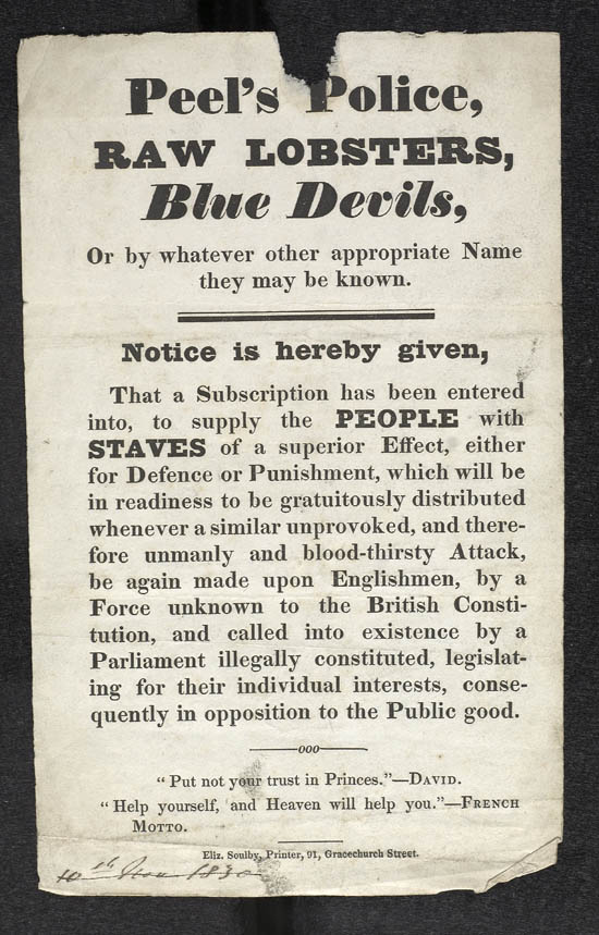Handbill for 'Peel's Police' - MS.42523