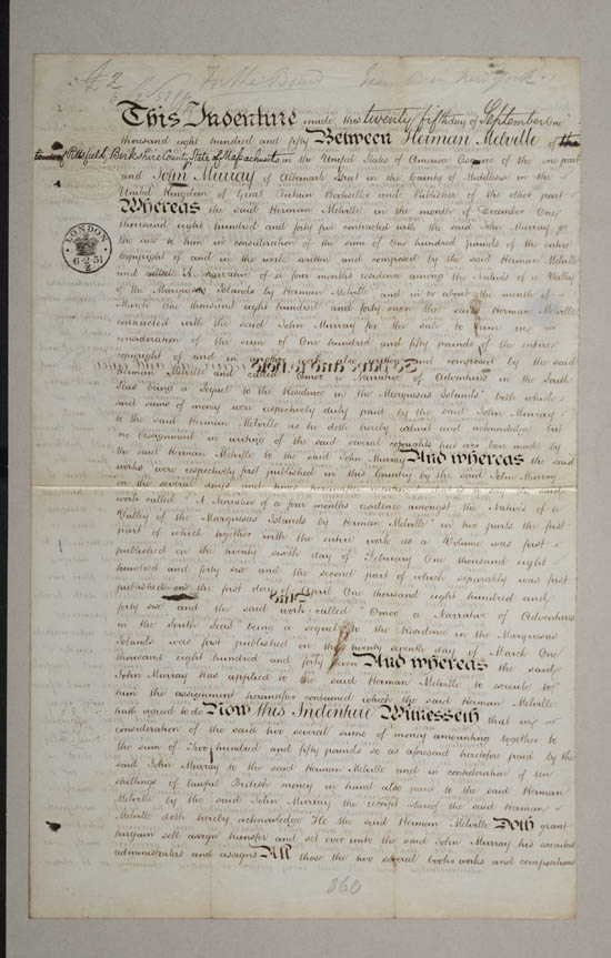 Copyright agreement between Herman Melville and John Murray, 25 September 1850 - MS.42479 ff.9-10