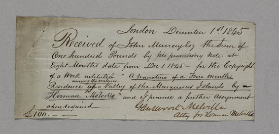 Receipt for payment to Herman Melville, 30 March 1847 - MS.42479 f.2