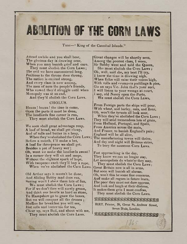 repeal of the corn law He campaign for the repeal of the corn laws was led by the anti-corn-law league (acll) and was closely modelled on that of the catholic association led by daniel o.