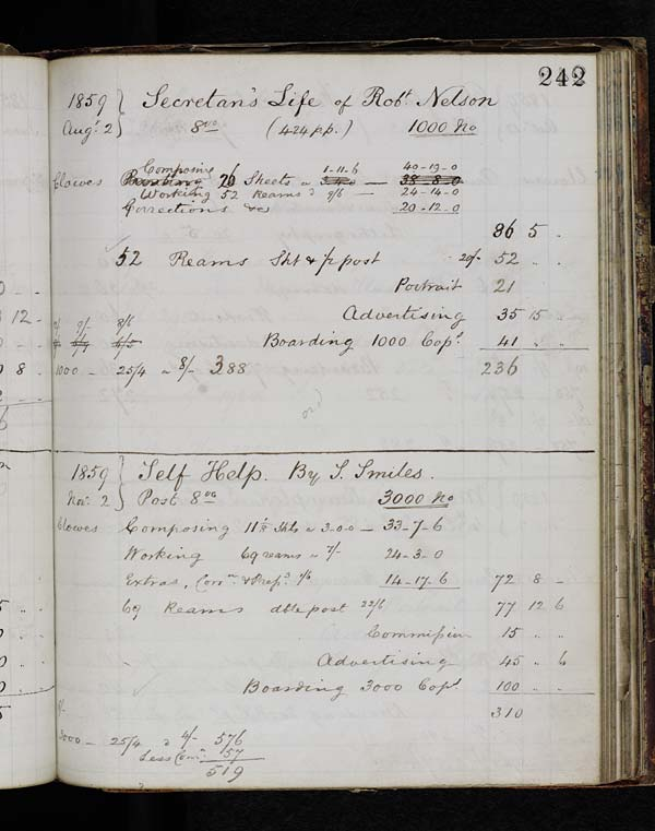 Estimated costs for publishing Samuel Smiles 'Self-Help' - MS.42721 p.242