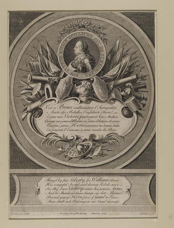 "(1) Blaikie.SNPG.1.1 - William Augustus, Duke of Cumberland  Portrait of the Duke of Cumberland, surrounded by flags, cannons and other military trophies.  Portrait surrounded by text: ""Son altesse royale Guillaume duc de Cumberland"".  With verses in French and in English."