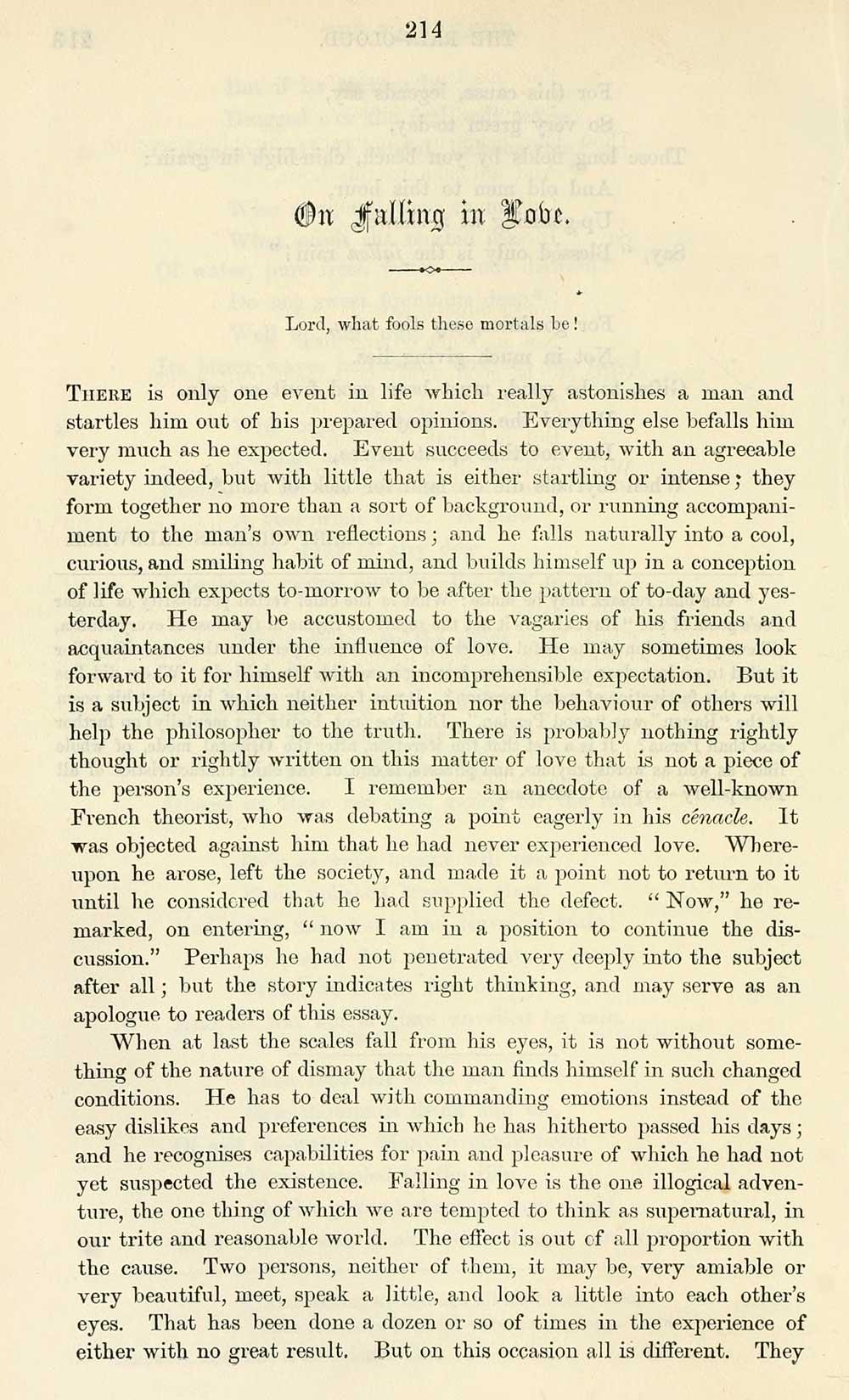 Famous essays on love