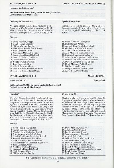 54) - Royal National Mòd Programmes and fringe events