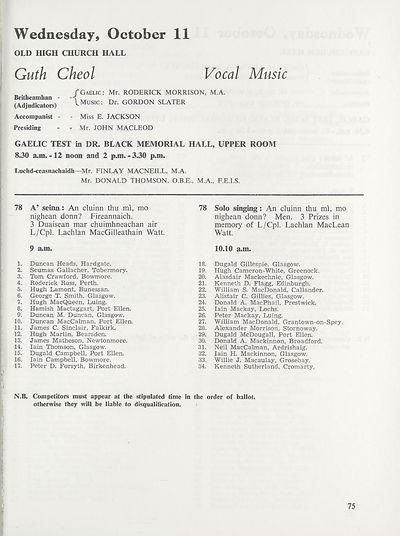 77) - Royal National Mòd Programmes and fringe events