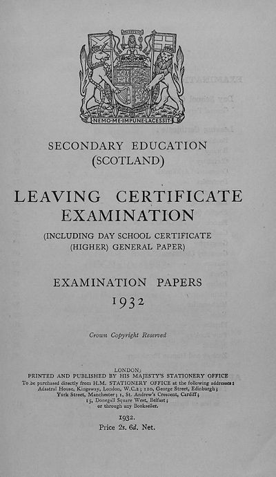 Browse and search > 1926-1939 - Leaving Certificate