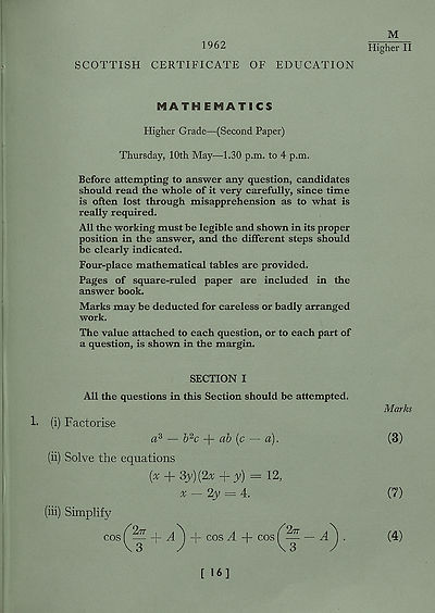 (97) Mathematics, Higher Grade - (Second Paper)