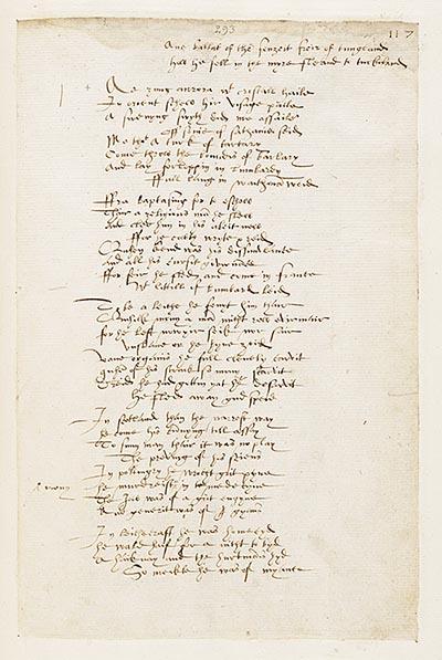 (291) Folio 117 recto - Ane ballat of the fenyeit freir of tungland