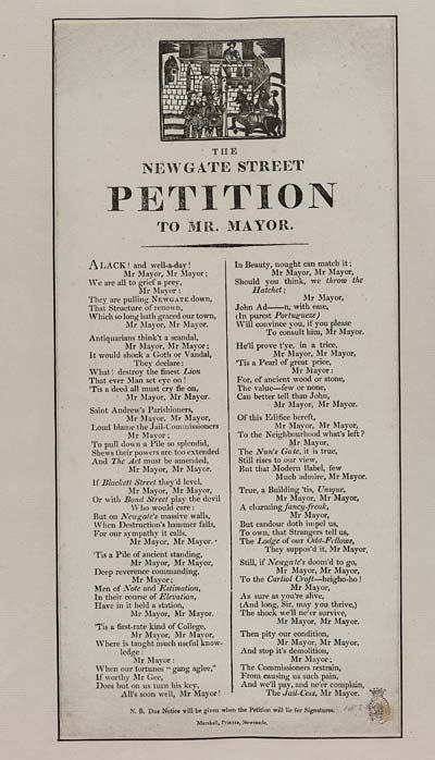 (1) Newgate Street petition to Mr Mayor