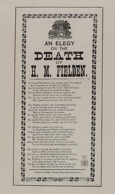 (3) Elegy on the death of H M Fielden