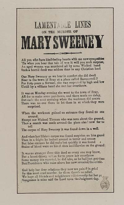(10) Lamentable lines on the murder of Mary Sweeney
