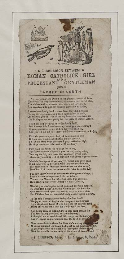 (5) Discuscion [sic] between a Roman Catholic girl and a Protestant gentleman near Ardee Co Louth