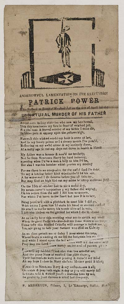 (16) Sorrowful [sic] lamentation on the execution [of] Patrick Power