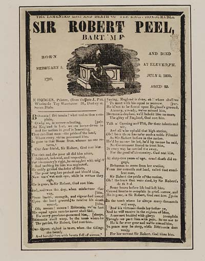 (10) Lamented loss and death of the right honourable Sir Robert Peel