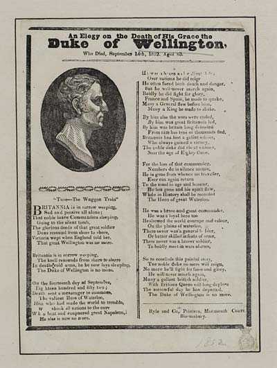(14) Elegy on the death of his Grace the Duke of Wellington