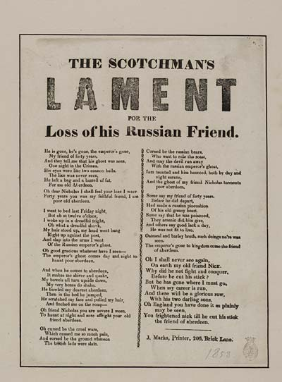 (23) Scotchman's lament for the loss of his Russian friend