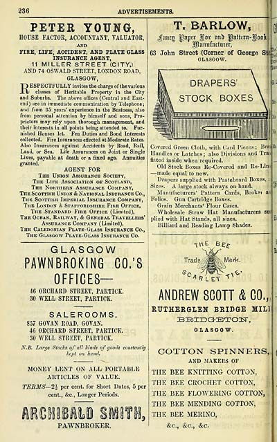 1358 towns glasgow 1828 1912 post office annual glasgow and fise life accident and plate glass insurance agent 11 miller street city and 74 oswald street london road glasgow respectfully invites the stopboris Image collections