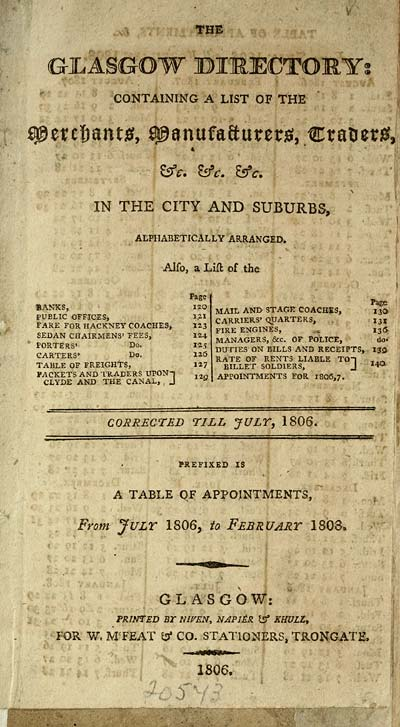 7) Title page - Towns > Glasgow > 1799-1828 - Glasgow directory