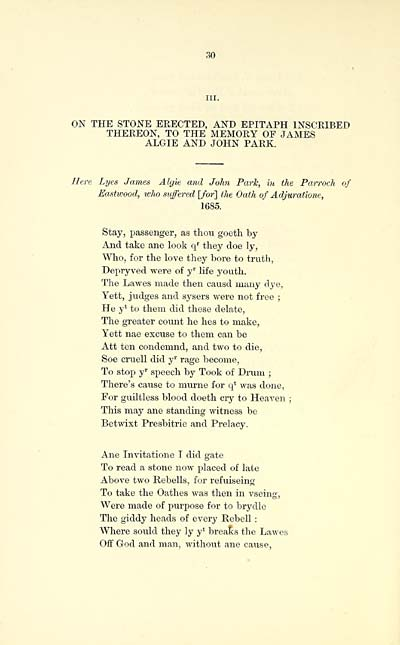 (48) Page 30 - On the stone erected, and epitaph inscribed therbon, to the memory of James Algie and John Park