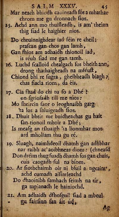 69 page 45 books and other items printed in gaelic from 1631 to lm xxxv f 45 mar ncaeh bhiodh caoineadhfosamhathar chrom me gu dronnach fios 15 chd annmo thuifleadh is am theinn thig fiad le haighier nios sciox Gallery
