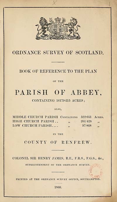 (7) 1860 - Abbey, County of Renfrew