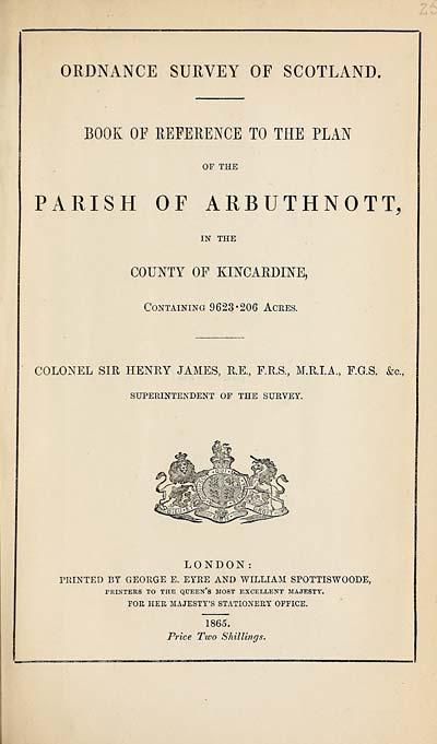 (643) 1865 - Arbuthnott, County of Kincardine