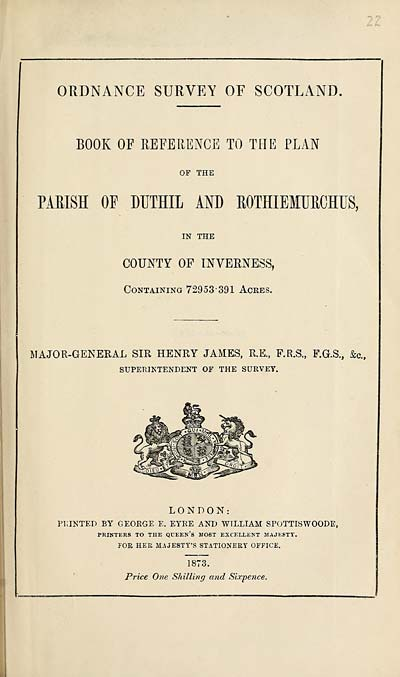 (571) 1873 - Duthil and Rothiemurchus, County of Inverness