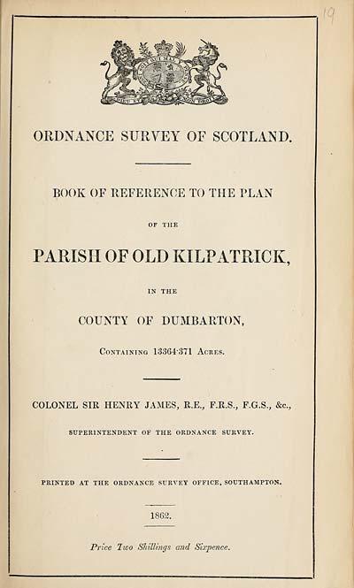 (401) 1862 - Old Kilpatrick, County of Dumbarton