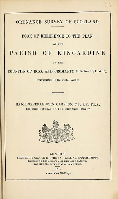 (645) 1876 - Kincardine, Counties of Ross and Cromarty