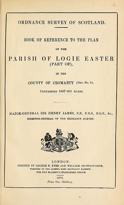 (123) 1874 - Logie Easter (Part of), County of Cromarty