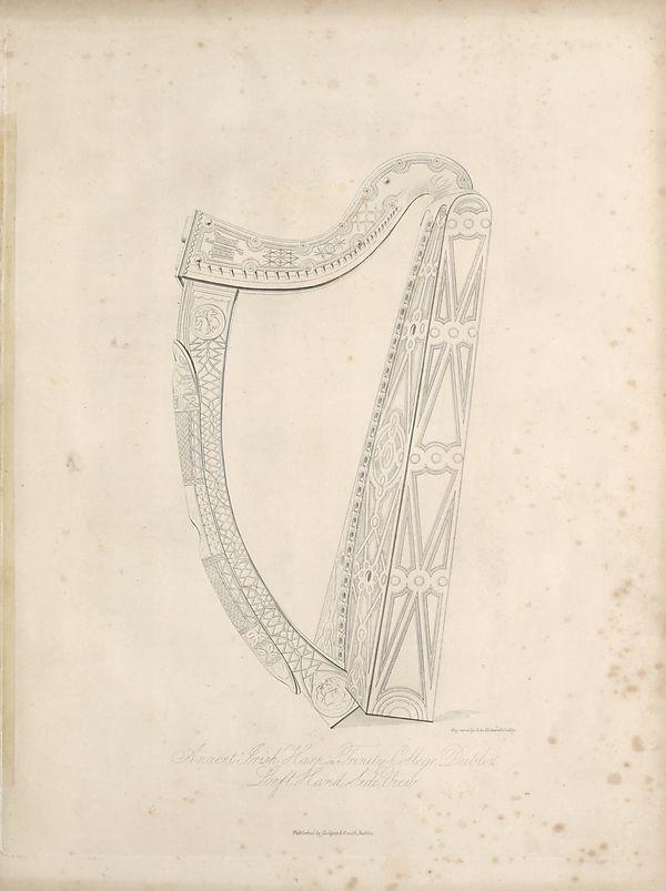 65) Illustrated plate - Ancient Irish harp in Trinity